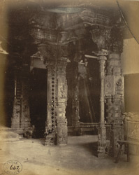 Close view of carved stone pillars in the mandapa of the Jalakanteshvara Temple, Vellore
